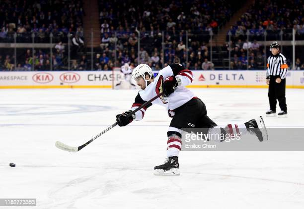 Conor Garland of the Arizona Coyotes takes a shot during the third period of their game against the New York Rangers at Madison Square Garden on...