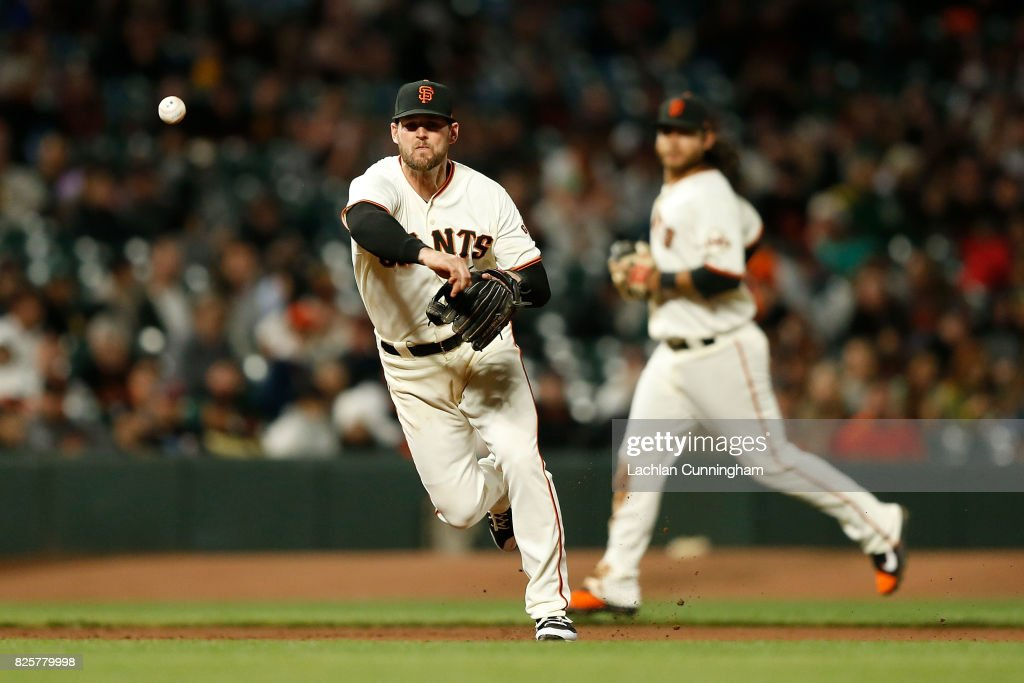 Conor Gillaspie #21 of the San Francisco Giants throws to first base to get the out of Matt Chapman #26 of the Oakland Athletics in an interleague game at AT&T Park on August 2, 2017 in San Francisco, California.
