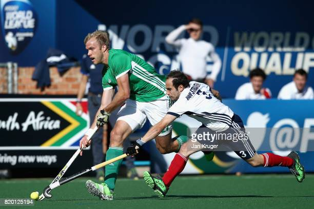 Conor Harte of Ireland and Pieter van Straaten of France battle for possession during the 5th8th place play off match between Ireland and France on...