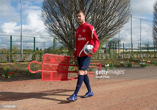 Conor Henderson takes part in a photoshoot at the Arsenal Training Ground, London Colney on April 12, 2012 in St Albans, England.