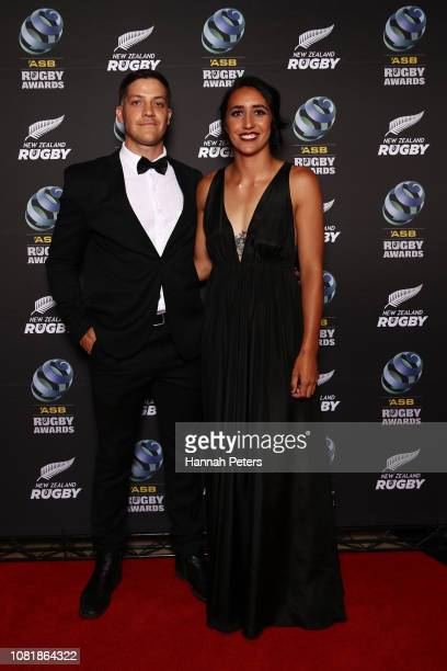 Conor Hirini and Sarah Goss pose on the red carpet during the 2018 ASB Rugby Awards at SkyCity Convention Centre on December 13, 2018 in Auckland,...