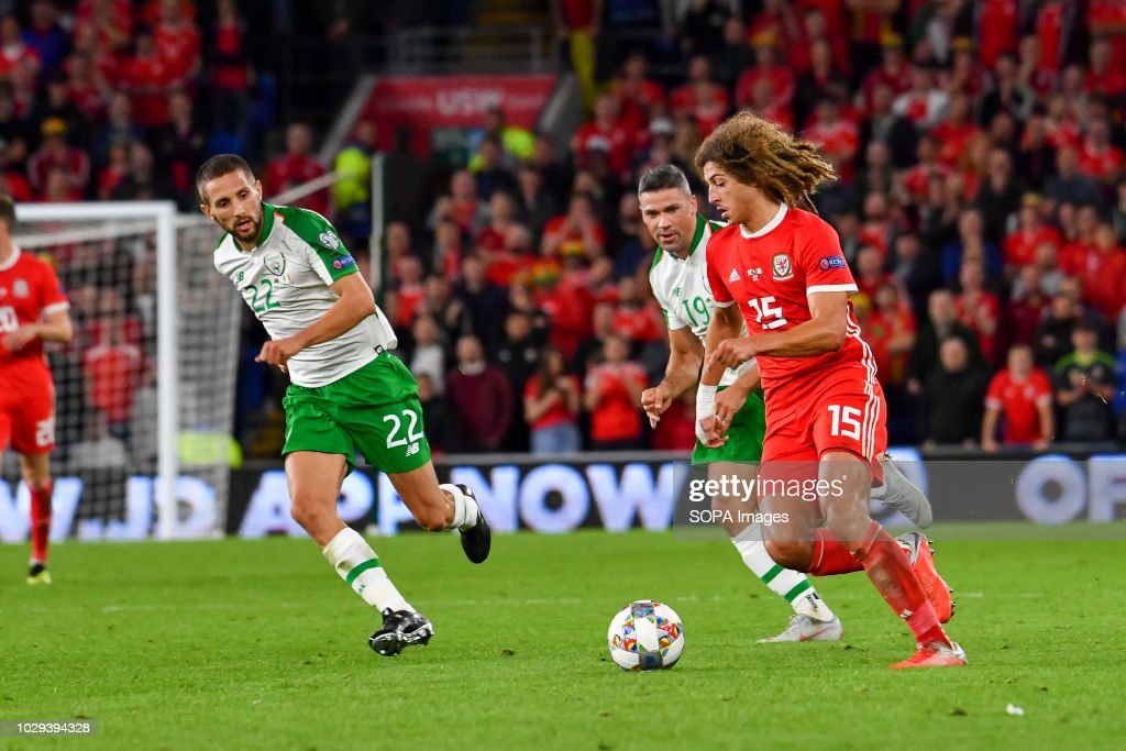 Conor Hourihane & Ethan Ampadu seen in action during the...