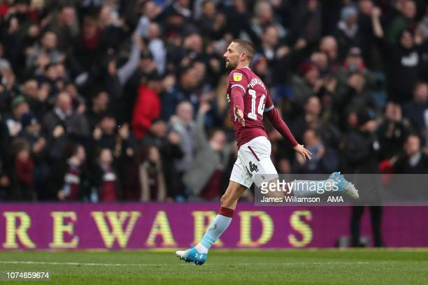 Conor Hourihane of Aston Villa celebrates after scoring a goal to make it 20 during the Sky Bet Championship match between Aston Villa and Leeds...