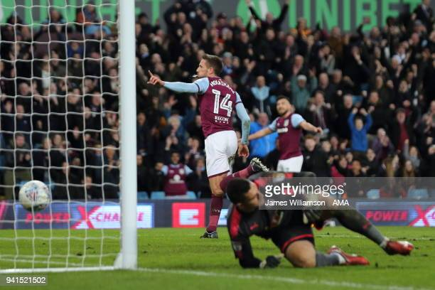 Conor Hourihane of Aston Villa celebrates after scoring a goal to make it 2-0 during the Sky Bet Championship match between Aston Villa and Reading...