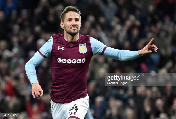 Conor Hourihane of Aston Villa celebrates after scoring his sides second goal during the Sky Bet Championship match between Aston Villa and Reading...