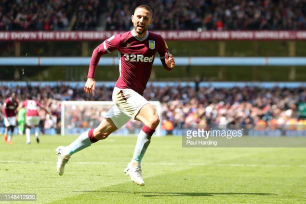 Conor Hourihane of Aston Villa celebrates after scoring his team's first goal during the Sky Bet Championship Play-off semi final first leg match...