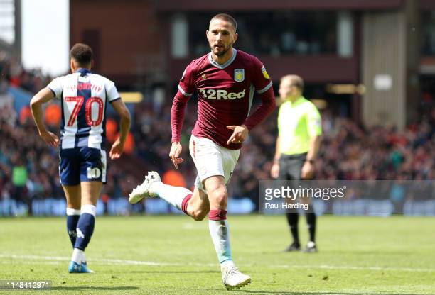 Conor Hourihane of Aston Villa celebrates after scoring his team's first goal during the Sky Bet Championship Playoff semi final first leg match...