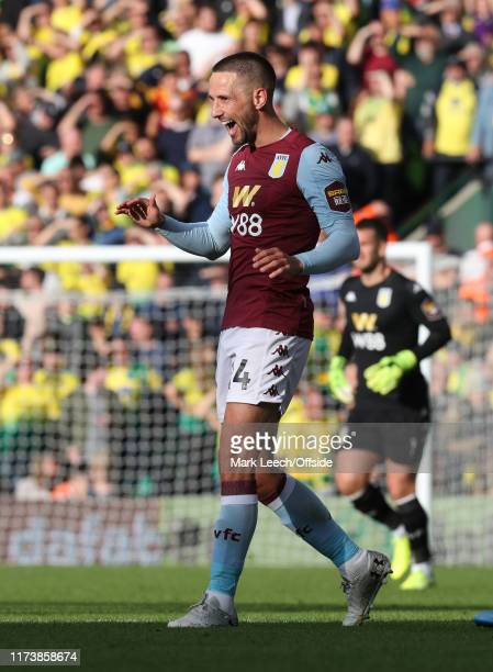 Conor Hourihane of Aston Villa celebrates his goal during the Premier League match between Norwich City and Aston Villa at Carrow Road on October 5,...