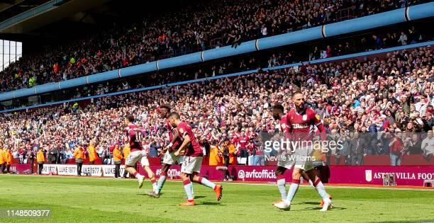 Conor Hourihane of Aston Villa celebrates his goal for Aston Villa during the Sky Bet Championship Playoff Semi Final First Leg between Aston Villa...