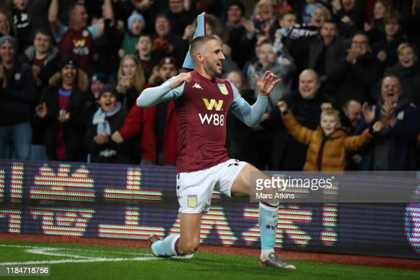 Conor Hourihane of Aston Villa celebrates scoring the opening goal during the Premier League match between Aston Villa and Newcastle United at Villa...