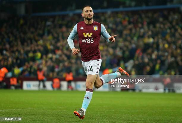 Conor Hourihane of Aston Villa celebrates scoring the opening goal during the Premier League match between Aston Villa and Norwich City at Villa Park...