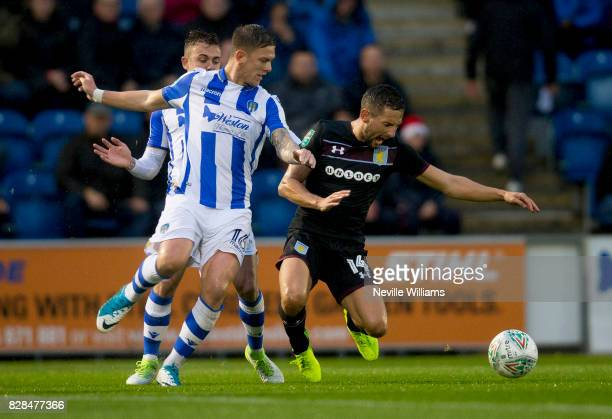 Conor Hourihane of Aston Villa during the Carabao Cup First Round match between Colchester United and Aston Villa at the Colchester Community Stadium...