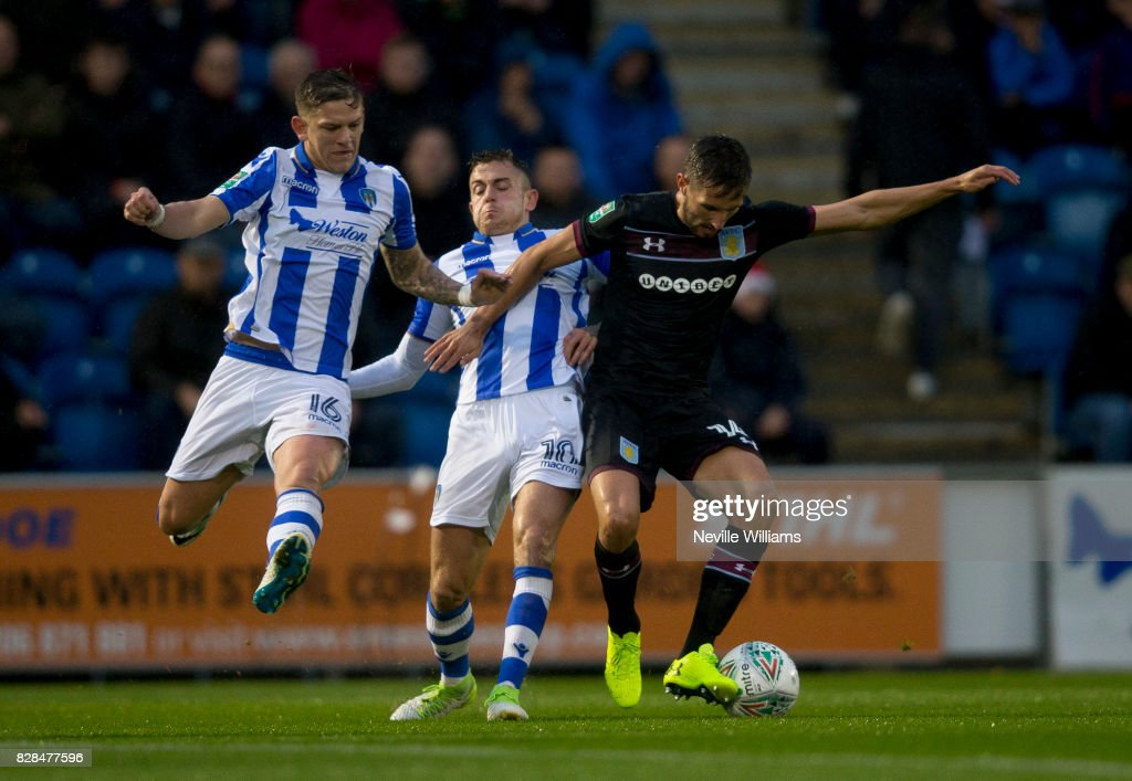 Conor Hourihane of Aston Villa during the Carabao Cup First Round match between Colchester United and Aston Villa at the Colchester Community Stadium on August 09, 2017 in Colchester, England.