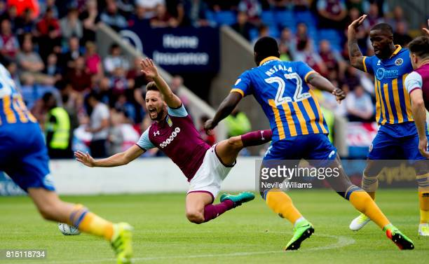 Conor Hourihane of Aston Villa during the PreSeason Friendly match between Shrewsbury Town and Aston Villa at the Greenhous Meadow on July 15 2017 in...