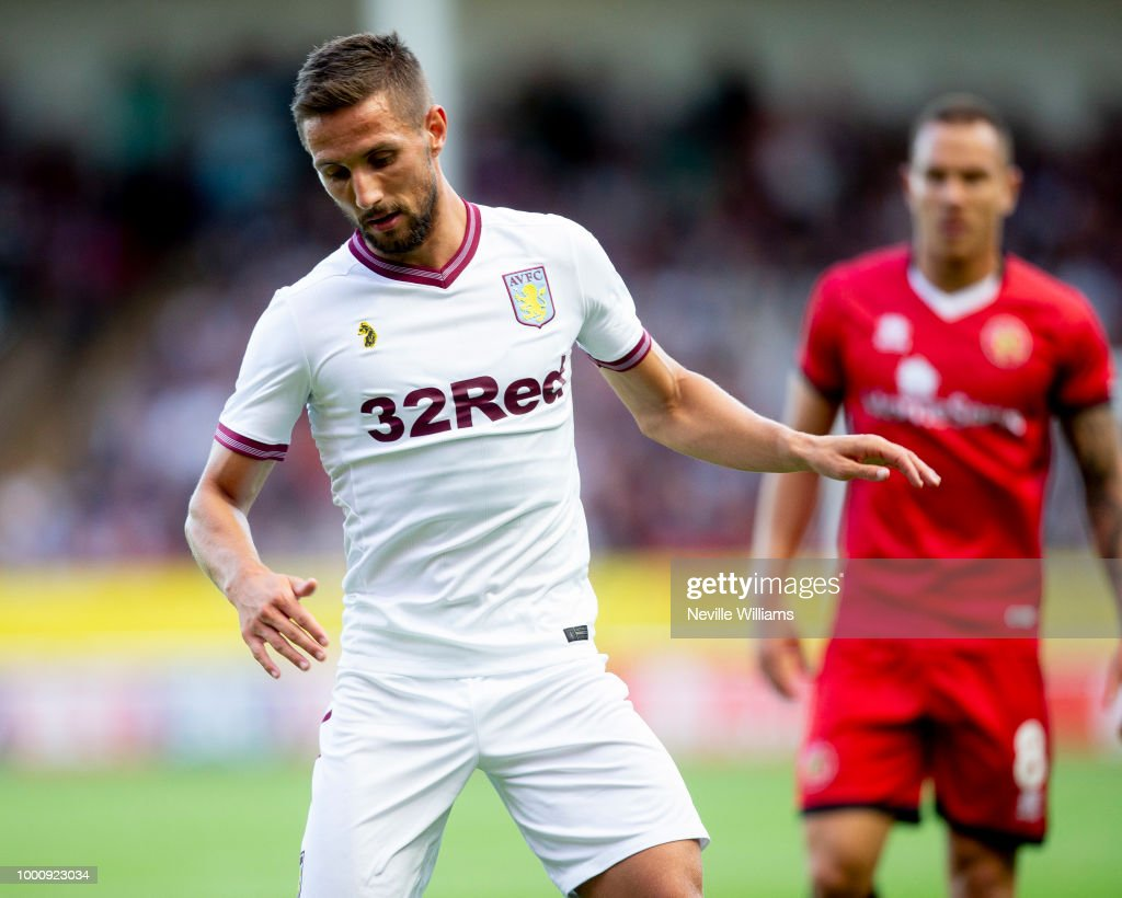 Conor Hourihane of Aston Villa in action during the Pre-Season Friendly match between Walsall and Aston Villa at the Bescot Stadium on July 17, 2018 in Walsall, England.