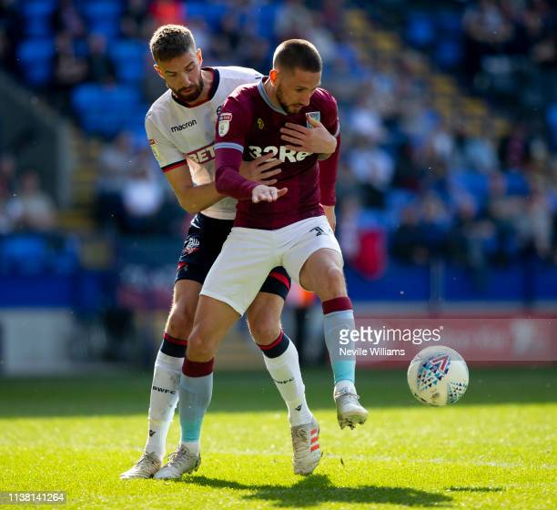 Conor Hourihane of Aston Villa in action during the Sky Bet Championship match between Bolton Wanderers and Aston Villa at the Macron Stadium on...