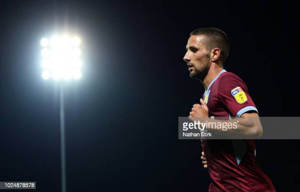 Conor Hourihane of Aston Villa looks on during the Carabao Cup Second Round match between Burton Albion and Aston Villa at Pirelli Stadium on August...
