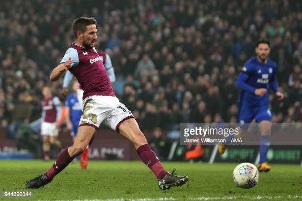 Conor Hourihane of Aston Villa pokes a good chance wide during the Premier League match between Leicester City and Newcastle United at The King Power...