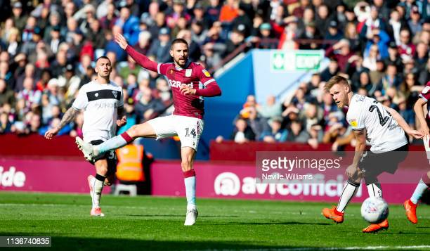 Conor Hourihane of Aston Villa scores a goal during the Sky Bet Championship match between Aston Villa and Bristol City at Villa Park on April 13,...