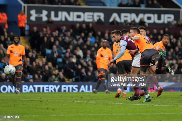 Conor Hourihane of Aston Villa scores a goal to make it 2-0 during the Sky Bet Championship match between Aston Villa and Reading at Villa Park on...