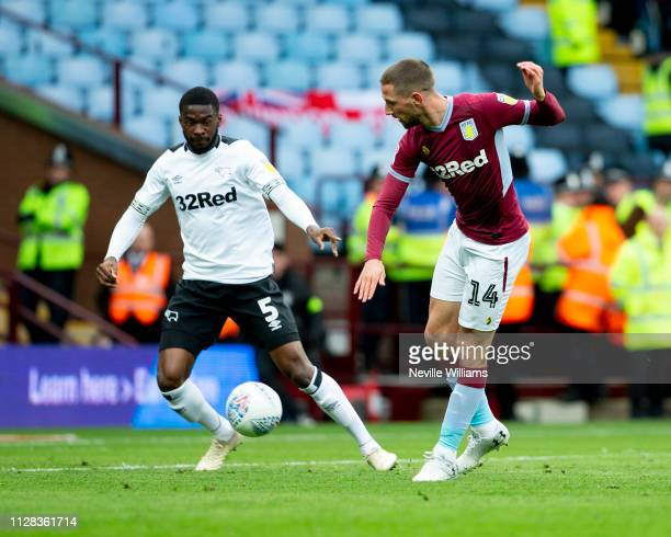 Conor Hourihane of Aston Villa scores for Aston Villa during the Sky Bet Championship match between Aston Villa and Derby County at Villa Park on...