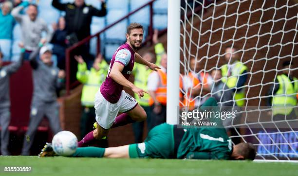 Conor Hourihane of Aston Villa scores for Aston Villa during the Sky Bet Championship match between Aston Villa and Norwich City at Villa Park on...
