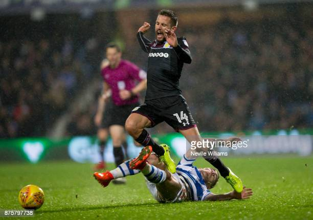 Conor Hourihane of Aston Villa scores for Aston Villa during the Sky Bet Championship match between Queens Park Rangers and Aston Villa at Loftus...
