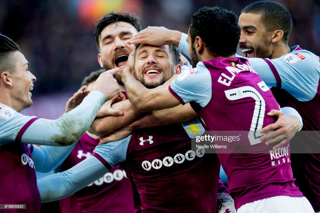 Conor Hourihane of Aston Villa scores for Aston Villa during the Sky Bet Championship match between Aston Villa and Birmingham City at Villa Park on February 11, 2018 in Birmingham, England.