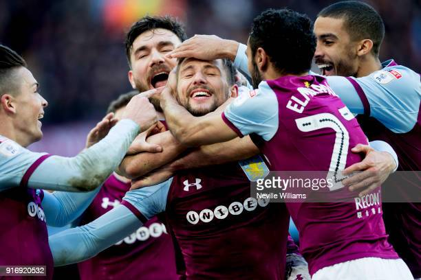 Conor Hourihane of Aston Villa scores for Aston Villa during the Sky Bet Championship match between Aston Villa and Birmingham City at Villa Park on...