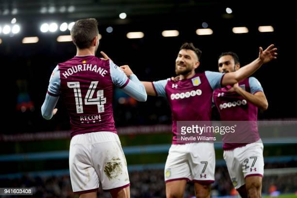 Conor Hourihane of Aston Villa scores for Aston Villa during the Sky Bet Championship match between Aston Villa and Reading at Villa Park on April 03...