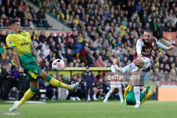 Conor Hourihane of Aston Villa scores his sides fourth goal during the Premier League match between Norwich City and Aston Villa at Carrow Road on...
