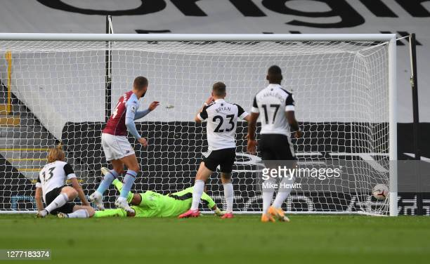 Conor Hourihane of Aston Villa scores his team's second goal during the Premier League match between Fulham and Aston Villa at Craven Cottage on...