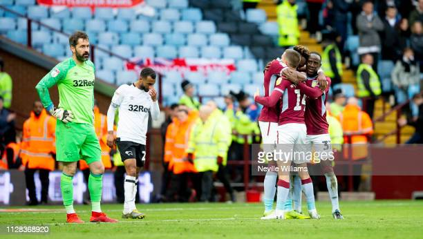 Conor Hourihane of Aston Villa scores second goal of the match for Aston Villa during the Sky Bet Championship match between Aston Villa and Derby...