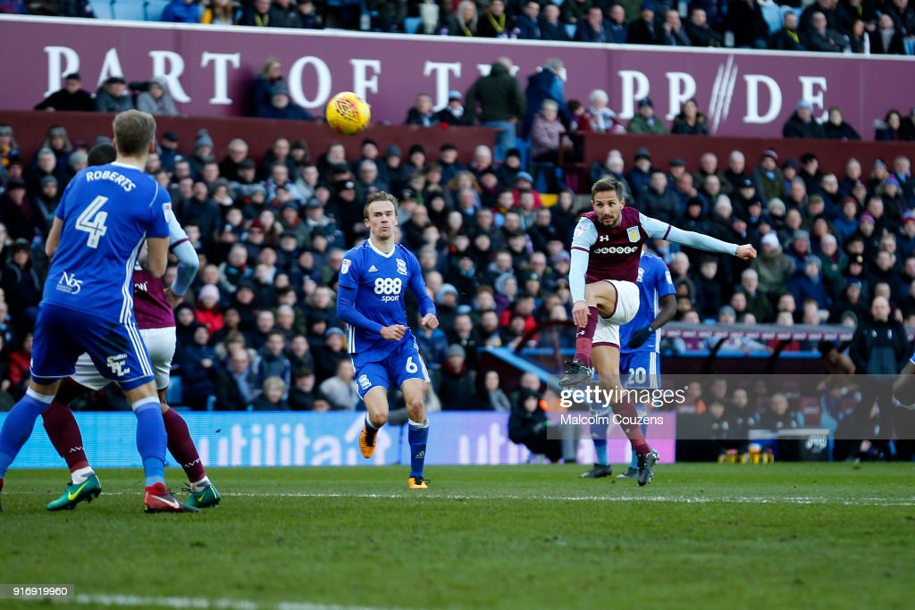 Conor Hourihane of Aston Villa scores the second goal of the game during the Sky Bet Championship match between Aston Villa and Birmingham City at Villa Park on February 11, 2018 in Birmingham, England.