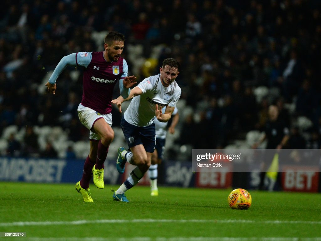 Conor Hourihane of Aston Villam in action during the Sky Bet Championship match between Preston North End and Aston Villa at Deepdale on November 1, 2017 in Preston, England.