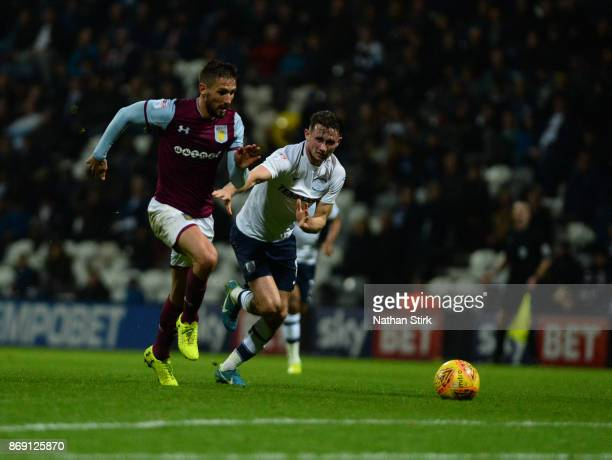 Conor Hourihane of Aston Villam in action during the Sky Bet Championship match between Preston North End and Aston Villa at Deepdale on November 1...