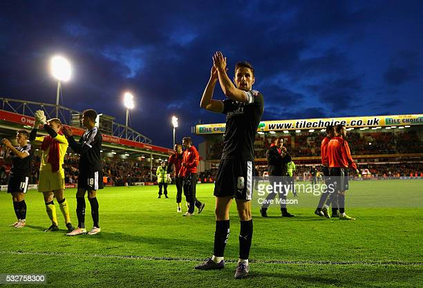 Conor Hourihane of Barnsley celebrates after winning the Sky Bet League One play off, second leg match between Walsall and Barnsley at Bescot Stadium...