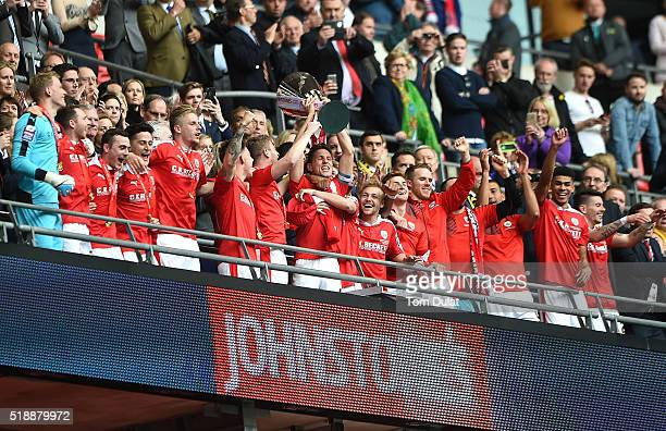 Conor Hourihane of Barnsley lifts the trophy during the Johnstone's Paint Trophy Final match between Oxford United and Barnsley at Wembley Stadium on...