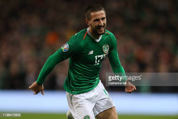 Conor Hourihane of Ireland celebrates scoring the opening goal during the 2020 UEFA European Championships group D qualifying match between Republic...