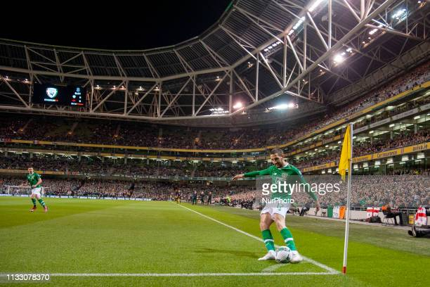 Conor Hourihane of Ireland kicks the ball during the UEFA Euro 2020 Qualifying Round Group D match between Republic of Ireland and Georgia at Aviva...