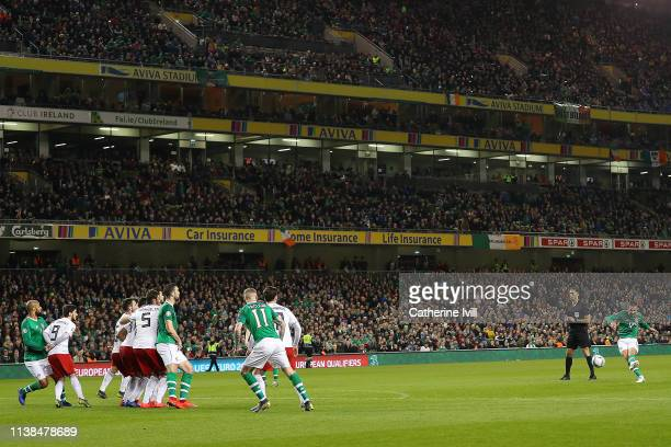 Conor Hourihane of Ireland scores the opening goal from a free kick during the 2020 UEFA European Championships group D qualifying match between...