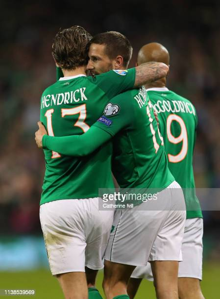 Conor Hourihane of Republic of Ireland celebrates with Jeff Hendrick of Republic of Ireland after scoring his teams first goal during the 2020 UEFA...
