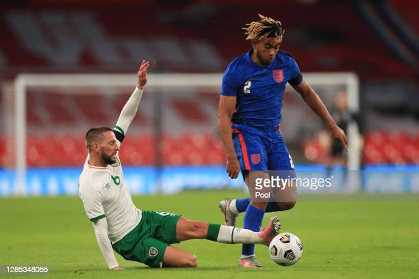 Conor Hourihane of Republic of Ireland challenges Reece James of England during the international friendly match between England and the Republic of...