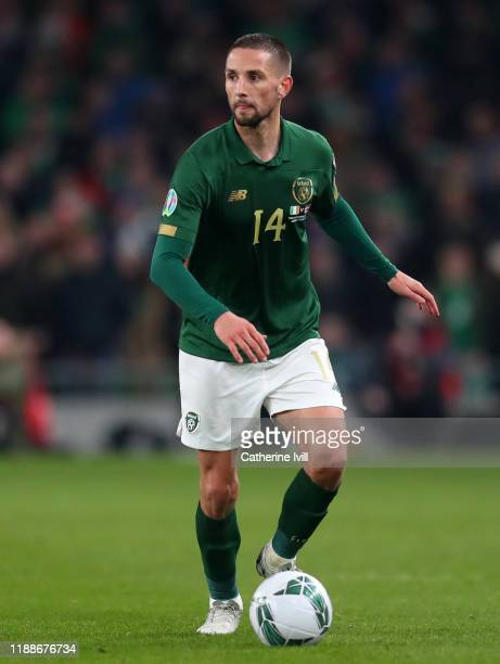 Conor Hourihane of Republic of Ireland during the UEFA Euro 2020 qualifier between Republic of Ireland and Denmark so at Dublin Arena on November 18,...