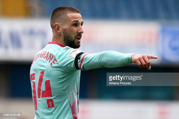 Conor Hourihane of Swansea City during the Sky Bet Championship match between Millwall and Swansea City at The Den on April 10, 2021 in London,...