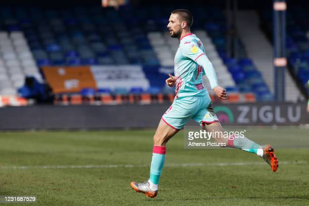Conor Hourihane of Swansea City in action during the Sky Bet Championship match between Luton Town and Swansea City at Kenilworth Road on March 13,...