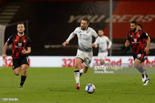 Conor Hourihane of Swansea City in action during the Sky Bet Championship match between Bournemouth and Swansea City at the Vitality Stadium on March...