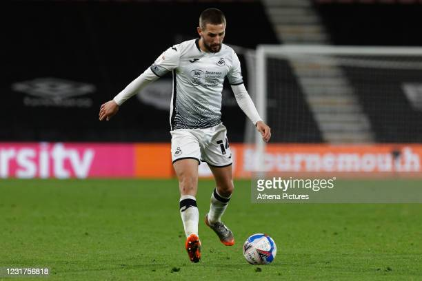Conor Hourihane of Swansea City in action during the Sky Bet Championship match between Bournemouth and Swansea City at the Viatlity Stadium on March...