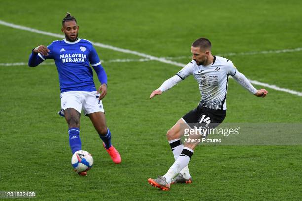 Conor Hourihane of Swansea City in action during the Sky Bet Championship match between Swansea City and Cardiff City at the Liberty Stadium on March...