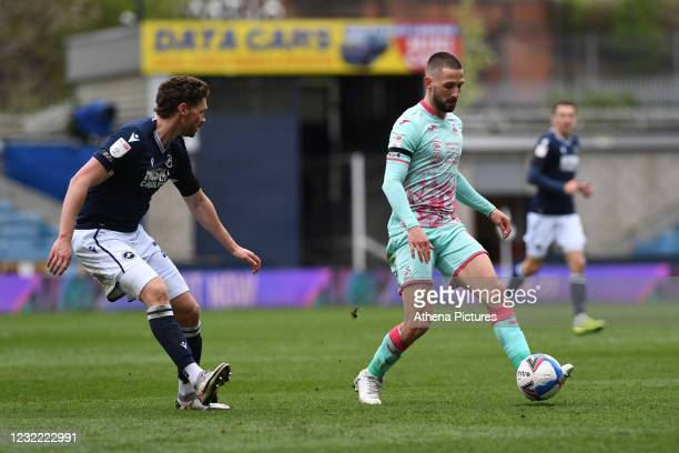 Conor Hourihane of Swansea City in action during the Sky Bet Championship match between Millwall and Swansea City at The Den on April 10, 2021 in...